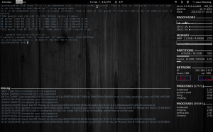 An embedded rxvt terminal on the Gnome 3 Desktop, using devilspie. (Also featuring Conky)